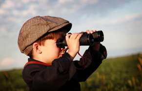 homeschool boy with binoculars